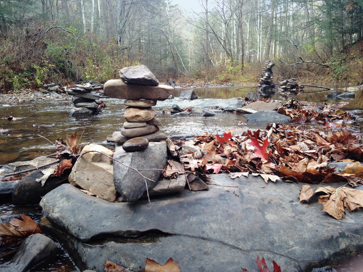 History. Stone Stacking in Sideling Hill Creek - Nov. 2014.